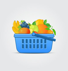 Shopping basket with fresh fruit vector