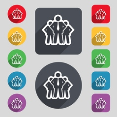 Business team icon sign a set of 12 colored vector