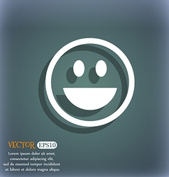 Funny face icon symbol on the blue-green abstract vector