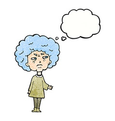 Cartoon old lady with thought bubble vector
