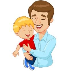 Cartoon happy family father holding son vector