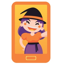 Witch taking a selfie vector
