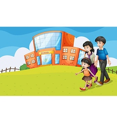 Family visiting the school vector image
