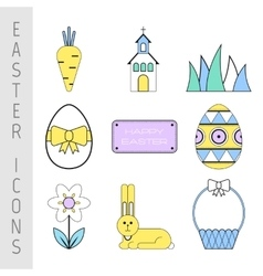 Set of easter color flat icons collection symbols vector