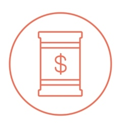 Barrel with dollar symbol line icon vector
