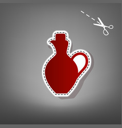 Amphora sign red icon with vector