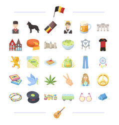 Belgium travel national and other web icon in vector