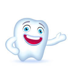 Cartoon tooth character with hand on his hip vector