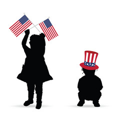 Child with american flag and hat vector