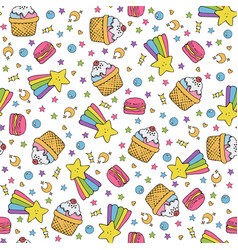 Cute seamless pattern with macaroons and cakes vector
