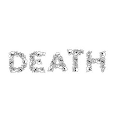 Death typography letters from bones anatomy vector