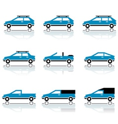 Different car body style icons vector