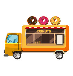 Donut truck mobile snack icon cartoon style vector