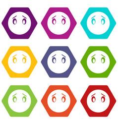 emoticon set color hexahedron vector image vector image