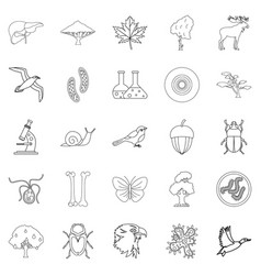Fauna icons set outline style vector