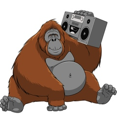 Funny monkey with a tape recorder vector