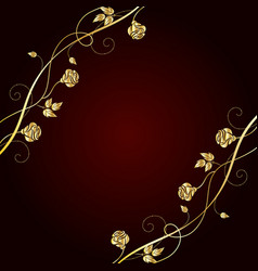 gold flowers on dark background vector image vector image