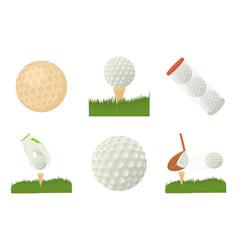 golf ball icon set cartoon style vector image vector image