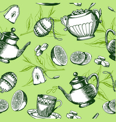 green tea pattern vector image vector image