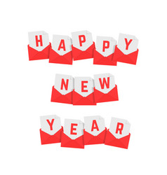 Happy new year text of red letters vector