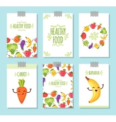 Healty food cartoon representing banners vector