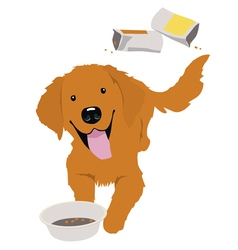 Little golden retriever with empty bowl vector