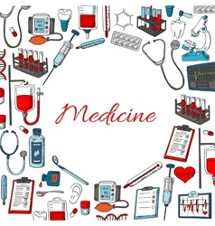 Medicine poster of medical items vector image
