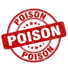 Poison red grunge stamp vector