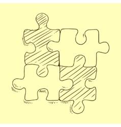 Puzzles flat pieces sketch vector