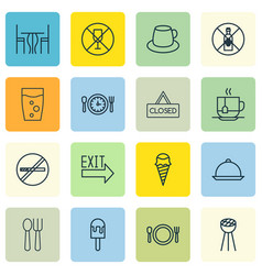 Set of 16 cafe icons includes dining hot drink vector