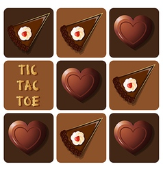 Tic-tac-toe of chocolate and cake vector