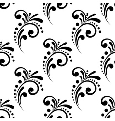 Vintage scrolling floral seamless pattern vector