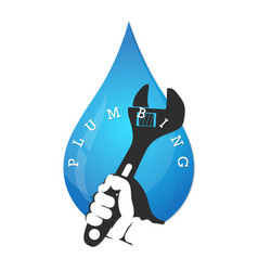 Wrench in hand and a drop of water design vector