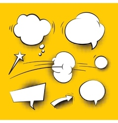 Comic cartoon speech bubbles with halftone shadows vector
