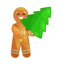 christmas tree cookies gingerbread man decorated vector image
