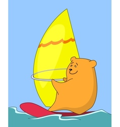 Cartoon teddy bear surfer vector