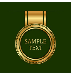 gold label on green background vector image