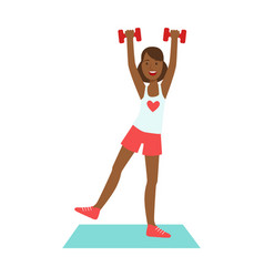 Woman doing exercises with dumbbells dressed in vector