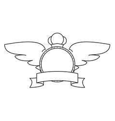 empty label with a ribbon and wings vector image