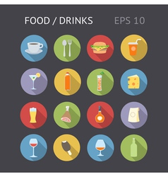 Icons flat shadow food drinks eps10 vector