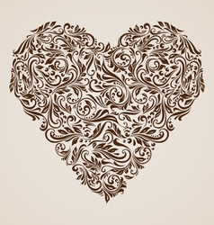 Decorated brown heart vector image