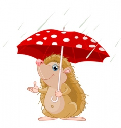 hedgehog under umbrella  vector image