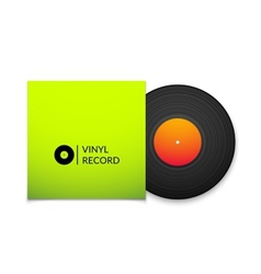 Black vintage vinyl record with blank green cover vector