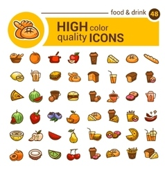 Color food icons set vector