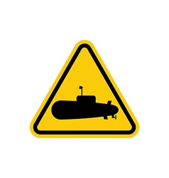 Submarine danger sign in water can swim submarines vector