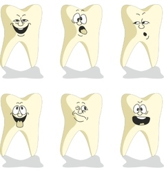 Emotion tooth cartoon set 010 vector