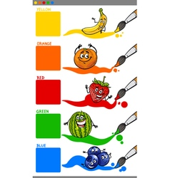 Main colors with cartoon fruits vector