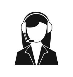Support phone operator in headset icon vector