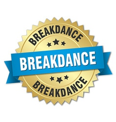 Breakdance 3d gold badge with blue ribbon vector