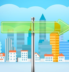 Cityscape with the glass board city trafic direct vector